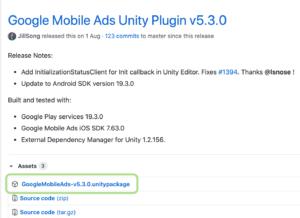 mobile ads unity のダウンロードサイト(github)